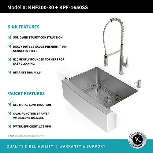 Kraus KHF200 30 1650 41SS 30 Inch Stainless Steel Combo With Single Bowl 16 Gauge Apron Front Farmhouse Sink And Nola Commercial Kitchen Faucet With Soap Dispenser 0 2