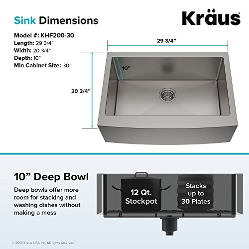 Kraus KHF200 30 1650 41SS 30 Inch Stainless Steel Combo With Single Bowl 16 Gauge Apron Front Farmhouse Sink And Nola Commercial Kitchen Faucet With Soap Dispenser 0 3