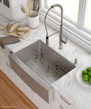 Kraus KHF200 30 1650 41SS 30 Inch Stainless Steel Combo With Single Bowl 16 Gauge Apron Front Farmhouse Sink And Nola Commercial Kitchen Faucet With Soap Dispenser 0 300x360