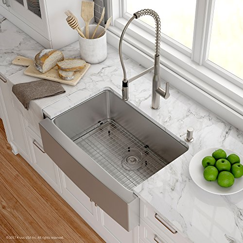 Kraus KHF200 30 1650 41SS 30 Inch Stainless Steel Combo With Single Bowl 16 Gauge Apron Front Farmhouse Sink And Nola Commercial Kitchen Faucet With Soap Dispenser 0