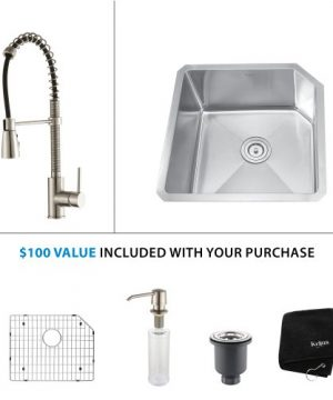 Kraus KHF200 33 KPF1612 KSD30SS 33 Farmhouse Single Bowl Stainless Steel Kitchen Sink With Stainless Steel Finish Kitchen Faucet And Soap Dispenser 0 300x360