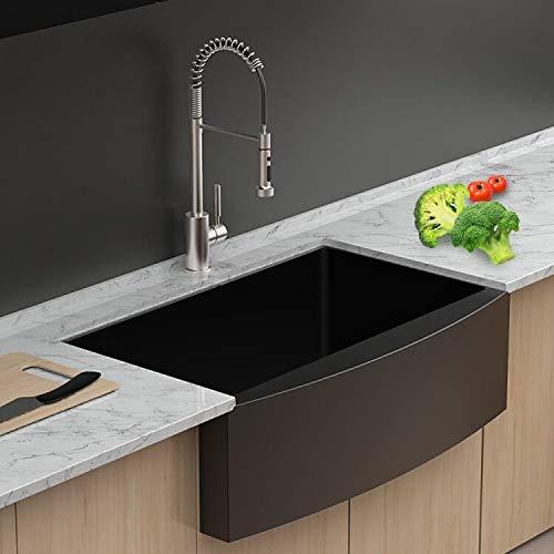 Lordear 33 Inch Matte Black Farmhouse Kitchen Sink 16-Gauge Stainless Steel  Apron Front Deep Single Bowl Kitchen Sink