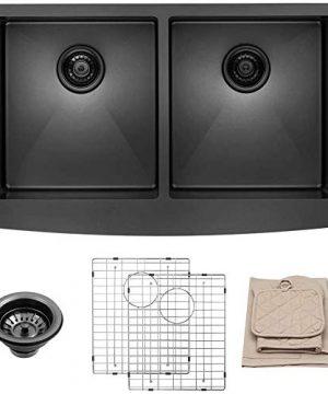 LORDEAR-LAB3321R2-55-33-inch-Black-Farmhouse-Apron-5050-Deep-Double-Bowl-16-gauge-Stainless-Steel-Kitchen-Sink-0