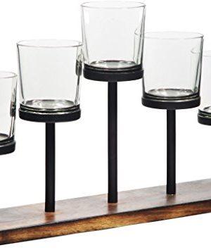 Leraze Elegant Decorative Votive Candle Holder Centerpiece 5 Glass Votive Cups On Wood BaseTray For Wedding Decoration Dining Table 0 0 300x355