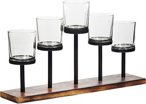 Leraze Elegant Decorative Votive Candle Holder Centerpiece 5 Glass Votive Cups On Wood BaseTray For Wedding Decoration Dining Table 0 0