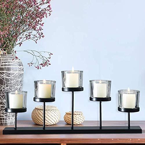 Leraze Elegant Decorative Votive Candle Holder Centerpiece 5 Glass Votive Cups On Wood BaseTray For Wedding Decoration Dining Table 0 3