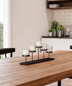 Leraze Elegant Decorative Votive Candle Holder Centerpiece 5 Glass Votive Cups On Wood BaseTray For Wedding Decoration Dining Table 0 5 300x360