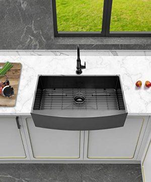 Logmey 33 Inch Black Luxury Farmhouse Apron Deep Single Bowl 16 Gauge Stainless Steel Kitchen Sink 0 0 300x360