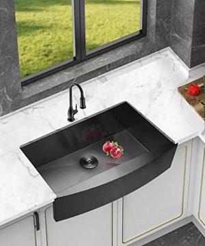 Logmey 33 Inch Black Luxury Farmhouse Apron Deep Single Bowl 16 Gauge Stainless Steel Kitchen Sink 0 1 300x360