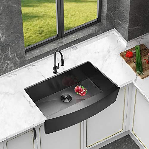Logmey 33 Inch Black Luxury Farmhouse Apron Deep Single Bowl 16 Gauge Stainless Steel Kitchen Sink 0 1