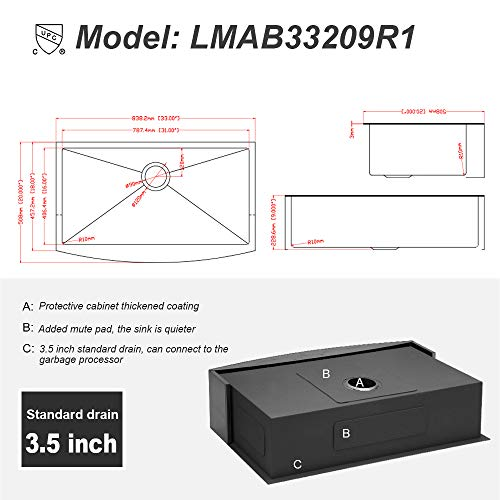 Logmey 33 Inch Black Luxury Farmhouse Apron Deep Single Bowl 16 Gauge Stainless Steel Kitchen Sink 0 5
