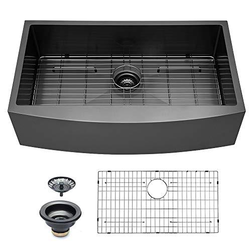 Logmey 33 Inch Black Luxury Farmhouse Apron Deep Single Bowl 16 Gauge Stainless Steel Kitchen Sink 0