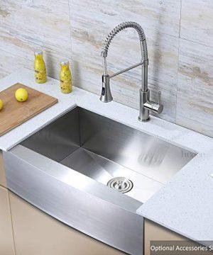 Luxier AFS30 18Z 30 Inch Farmhouse Apron Single Bowl 18 Gauge Stainless Steel Kitchen Sink 0 300x360