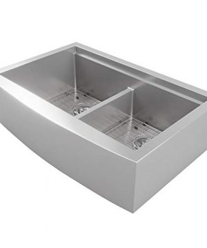 MOWA CW60251 33 Inch Apron Front Low Ledge Workstation Farmhouse Kitchen Sink 16 Gauge Stainless Steel Workstation Sink Deep Single Ledge 5050 Double Bowl Pack Of 7 W 175 Acacia Butchers Block 0 1 300x360