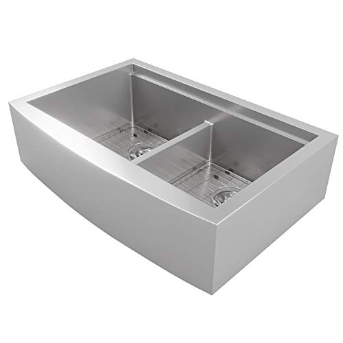 MOWA CW60251 33 Inch Apron Front Low Ledge Workstation Farmhouse Kitchen Sink 16 Gauge Stainless Steel Workstation Sink Deep Single Ledge 5050 Double Bowl Pack Of 7 W 175 Acacia Butchers Block 0 1