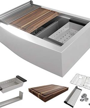 MOWA CW60251 33 Inch Apron Front Low Ledge Workstation Farmhouse Kitchen Sink 16 Gauge Stainless Steel Workstation Sink Deep Single Ledge 5050 Double Bowl Pack Of 7 W 175 Acacia Butchers Block 0 300x360