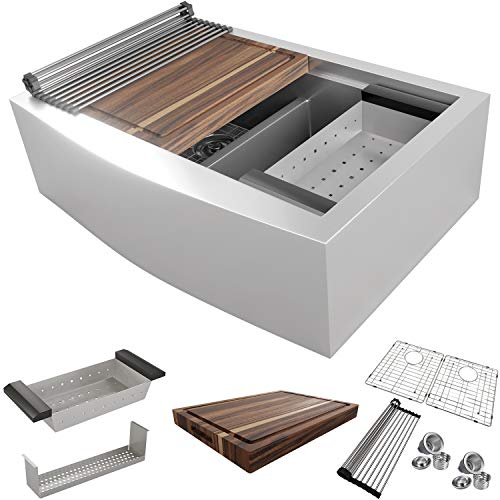 MOWA CW60251 33 Inch Apron Front Low Ledge Workstation Farmhouse Kitchen Sink 16 Gauge Stainless Steel Workstation Sink Deep Single Ledge 5050 Double Bowl Pack Of 7 W 175 Acacia Butchers Block 0