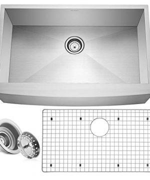 Miligore 33 X 21 X 10 Deep Single Bowl Farmhouse Apron Zero Radius 16 Gauge Stainless Steel Kitchen Sink Includes DrainGrid 0 300x360