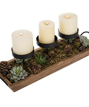 MyGift 3 Pillar Candle Holder With Rustic Wood Tray 0 0 300x360