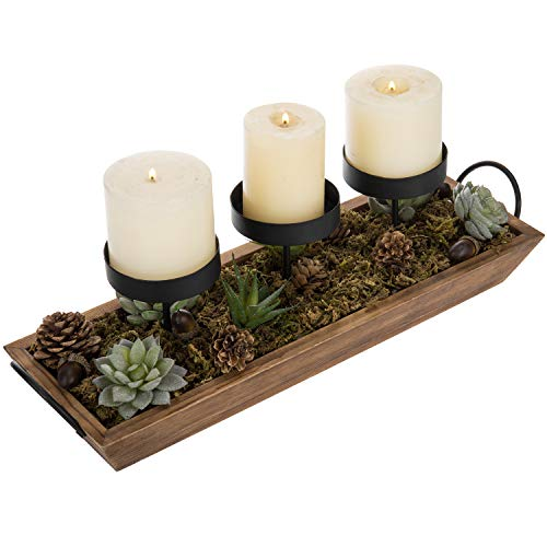 MyGift 3 Pillar Candle Holder With Rustic Wood Tray 0 0