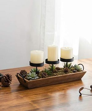 MyGift 3 Pillar Candle Holder With Rustic Wood Tray 0 1 300x360