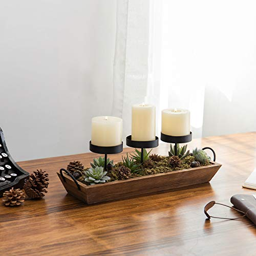 MyGift 3 Pillar Candle Holder With Rustic Wood Tray 0 1