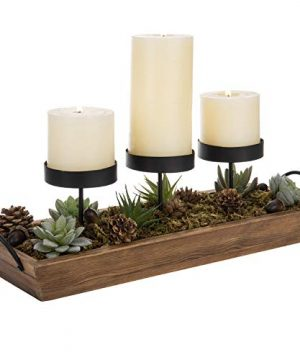 MyGift 3 Pillar Candle Holder With Rustic Wood Tray 0 300x360