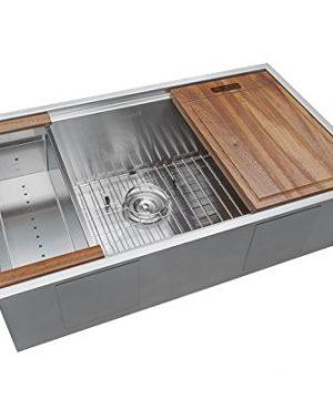 Ruvati 32 Inch Workstation Ledge Undermount 16 Gauge Stainless Steel Kitchen Sink Single Bowl RVH8300 0 300x360