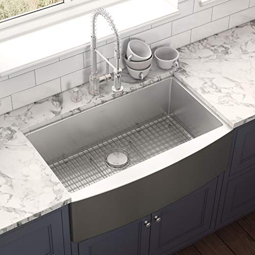 Ruvati 33 Inch Farmhouse Apron Front Kitchen Sink Stainless Steel Single Bowl RVH9233 0 0
