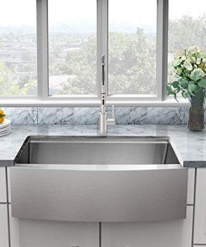 Sarlai 30 Inch Ledge Farmhouse Apron Single Bowl 16 Gauge Stainless Steel Luxury Kitchen Sink 0 300x360