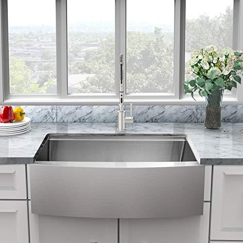 Sarlai 30 Inch Ledge Farmhouse Apron Single Bowl 16 Gauge Stainless Steel Luxury Kitchen Sink 0