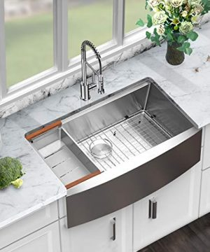 Sarlai 33 Inch Ledge Farmhouse Apron Single Bowl 16 Gauge Stainless Steel Luxury Kitchen Sink 0 1 300x360