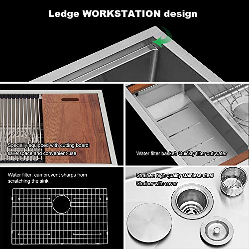 Sarlai 33 Inch Ledge Farmhouse Apron Single Bowl 16 Gauge Stainless Steel Luxury Kitchen Sink 0 2