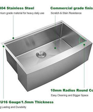 Sarlai 33 Inch Ledge Farmhouse Apron Single Bowl 16 Gauge Stainless Steel Luxury Kitchen Sink 0 3 300x360