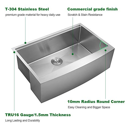 Sarlai 33 Inch Ledge Farmhouse Apron Single Bowl 16 Gauge Stainless Steel Luxury Kitchen Sink 0 3