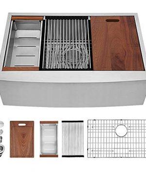 Sarlai 33 Inch Ledge Farmhouse Apron Single Bowl 16 Gauge Stainless Steel Luxury Kitchen Sink 0 300x360
