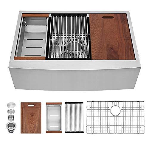 Sarlai 33 Inch Ledge Farmhouse Apron Single Bowl 16 Gauge Stainless Steel Luxury Kitchen Sink 0