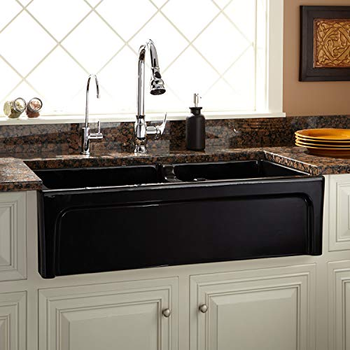 Signature Hardware 406513 Risinger 36 6040 Offset Bowl Fireclay Farmhouse Sink With Casement Apron 0