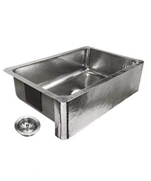 Sinkology SK701 33HSP AMZ B Percy All In One Farmhouse Apron Front 32 In Single Bowl In Polished Finish And Strainer Drain Crafted Stainless Steel Kitchen Sink 0 300x360