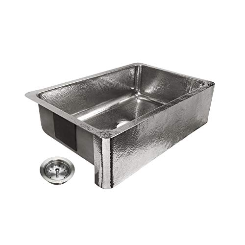 Sinkology SK701 33HSP AMZ B Percy All In One Farmhouse Apron Front 32 In Single Bowl In Polished Finish And Strainer Drain Crafted Stainless Steel Kitchen Sink 0