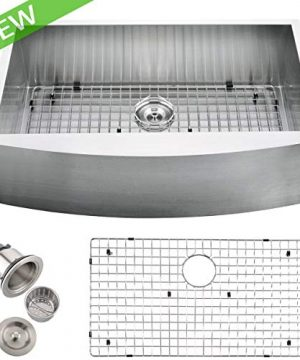 VCCUCINE Commercial 33 Inch Farmhouse Apron Undermount Handmade Single Bowl Brushed Nickel Kitchen Sink 304 Stainless Steel Satin Brushed Finished Kitchen Sinks Include Dish Grid And Strainer 0 300x360