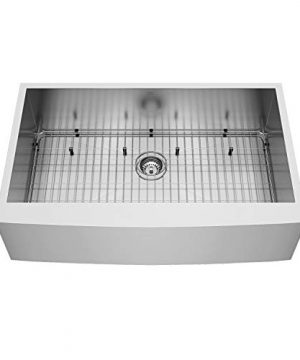VIGO VG3620CK1 36 Inch Single Bowl 16 Gauge Stainless Steel Commercial Grade Farmhouse Apron Front Kitchen Sink Rounded Corners And SoundAbsorb Technology 0 0 300x360