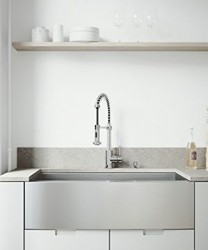 VIGO VG3620CK1 36 Inch Single Bowl 16 Gauge Stainless Steel Commercial Grade Farmhouse Apron Front Kitchen Sink Rounded Corners And SoundAbsorb Technology 0 2 300x360