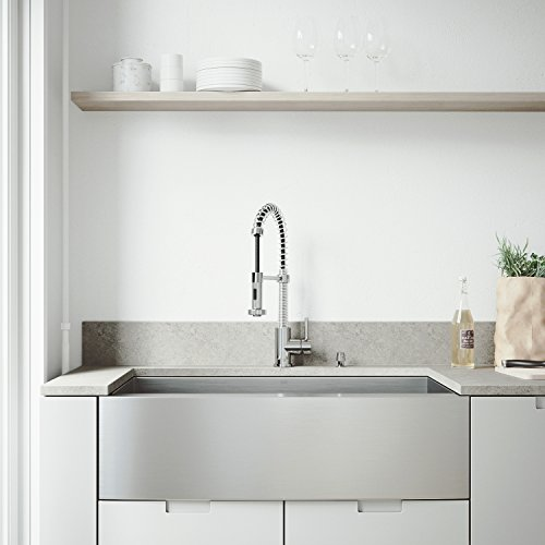 VIGO VG3620CK1 36 Inch Single Bowl 16 Gauge Stainless Steel Commercial Grade Farmhouse Apron Front Kitchen Sink Rounded Corners And SoundAbsorb Technology 0 2