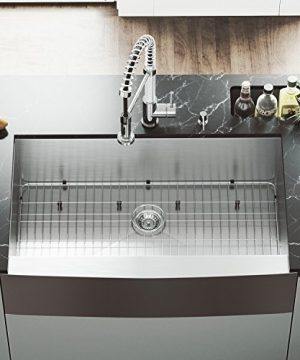 VIGO VG3620CK1 36 Inch Single Bowl 16 Gauge Stainless Steel Commercial Grade Farmhouse Apron Front Kitchen Sink Rounded Corners And SoundAbsorb Technology 0 300x360
