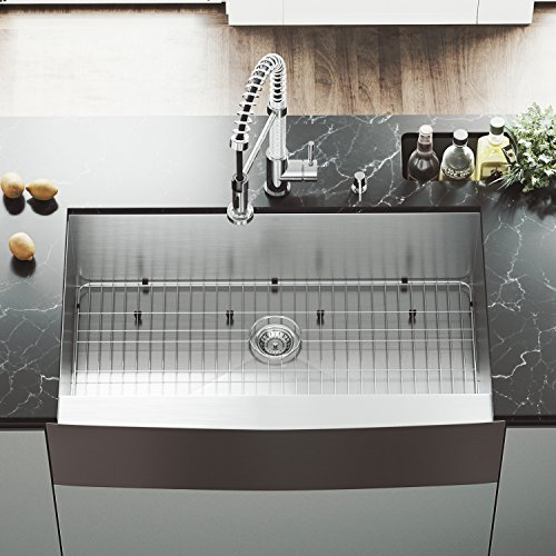 VIGO VG3620CK1 36 Inch Single Bowl 16 Gauge Stainless Steel Commercial Grade Farmhouse Apron Front Kitchen Sink Rounded Corners And SoundAbsorb Technology 0