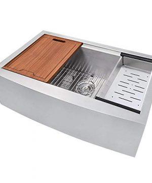 VOKIM 33 Inch Apron Front Workstation Farmhouse Kitchen Sink 16 Gauge Stainless Steel Single Bowl 0 300x360