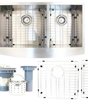 Walter Sinks Farmhouse Apron Stainless Steel 36 X 22 X 10 16 Gauge 6040 Double Bowl Farm Sinks Kitchens Undermount Deep Free Strainer Drain Grid Protector Dish Tray 0 300x360