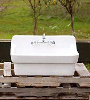 White Vintage Style High Back Farm Sink Original Porcelain Finish Apron Kitchen Utility Sink 0 0 300x333