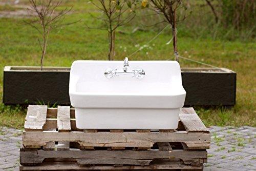 White Vintage Style High Back Farm Sink Original Porcelain Finish Apron Kitchen Utility Sink 0 0